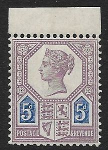 SG207 5d Purple & Blue Die I 1887 Jubilee Issue Unmounted Mint (Queen Victoria Surface Printed Stamps)